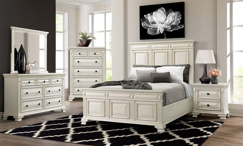 Calloway White Panel Bedroom Set - Queen | Nader's Furnitu