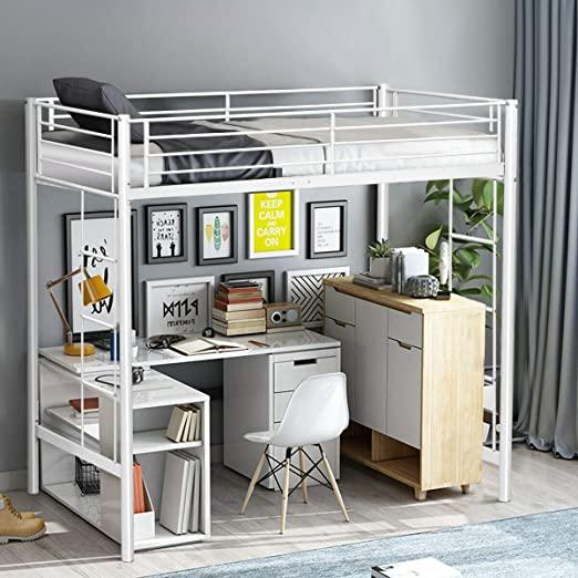 Amazon.com: Twin Loft Bed Metal Bunk Ladder Beds Boys Girls Teens .