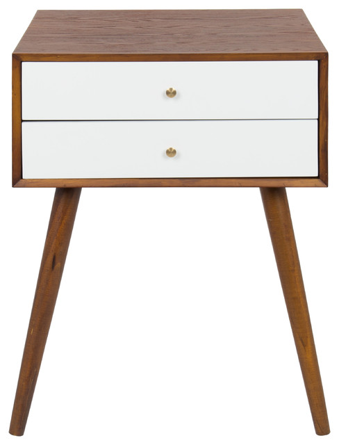 Finco Two Drawer Wood Nighstand Side Table - Midcentury .