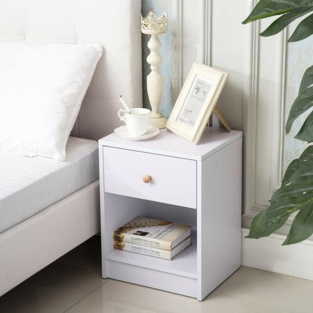 Modern White Nightstand Bedside Table 1 Drawer & Shelf Bedroom .