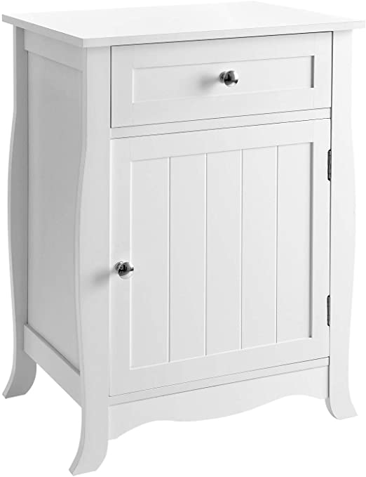 Amazon.com: SONGMICS White Nightstand, End Table with Storage .