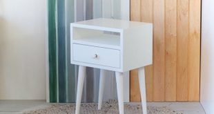 Oak white Bedside Table with drawer Mid Century Modern   Et