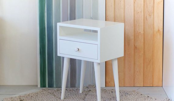 Oak white Bedside Table with drawer Mid Century Modern | Et