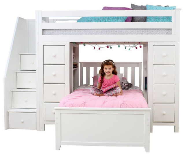 Chelsea Twin Twin L Shaped Storage Loft Bed with Stairs .