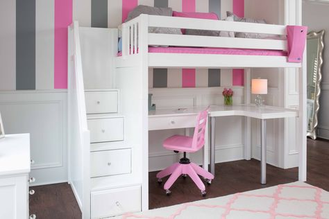 White Loft Bed with Stairs, curve desk, student desk, chair, built .