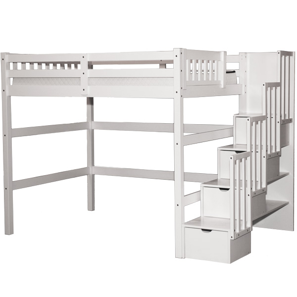 Full Staircase Loft Bed White | Bunk Beds & Lofts Online U