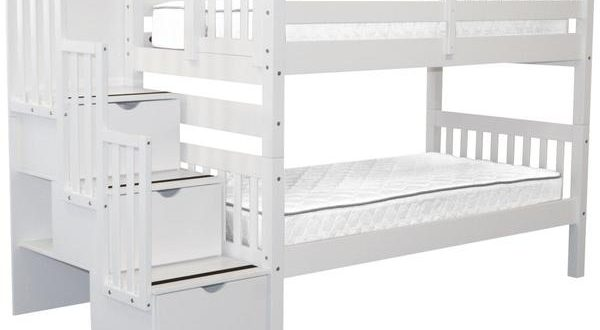 Bunk Beds Twin Stairway White $729 | Bunk Bed Ki