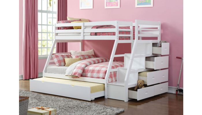 Elling White Bunkbed With Storage Stai