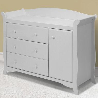 Storkcraft Aspen Sleigh Combo Dresser / Changer in White - Click .