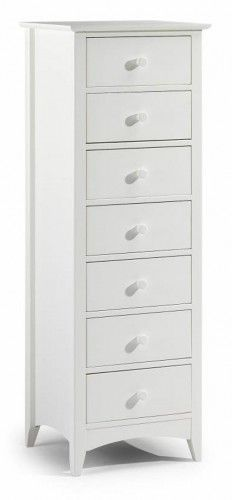 Julian Bowen Cameo Stone White 7 Drawer Narrow Chest | Narrow .