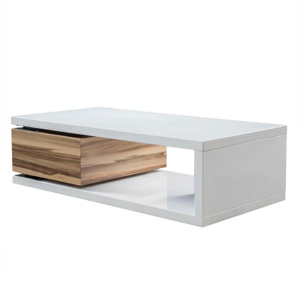 Noble House Rectangular Glossy White and Wood Brown Rotatable .
