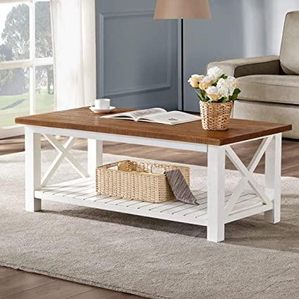Amazon.com: FurniChoi Farmhouse Coffee Table, Wood Rustic Vintage .