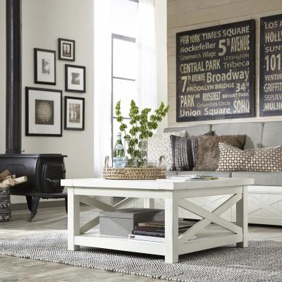 HOMESTYLES Seaside Lodge Hand Rubbed White Coffee Table 5523-21 .