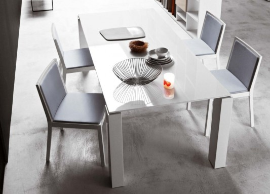 White Lacquer Dining Table Design, White Block Dining Table by Go .