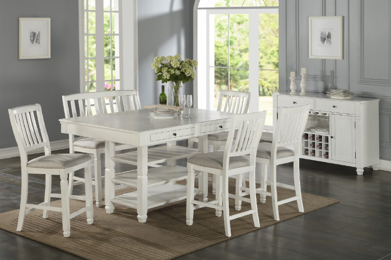 F2466-1769 7 pc Blaisdel II collection rustic white wood finish .