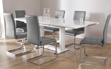 Tokyo White High Gloss Extending Dining Table and 6 Chairs Set .