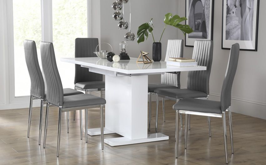 Osaka White High Gloss Extending Dining Table - with 6 Leon Grey .