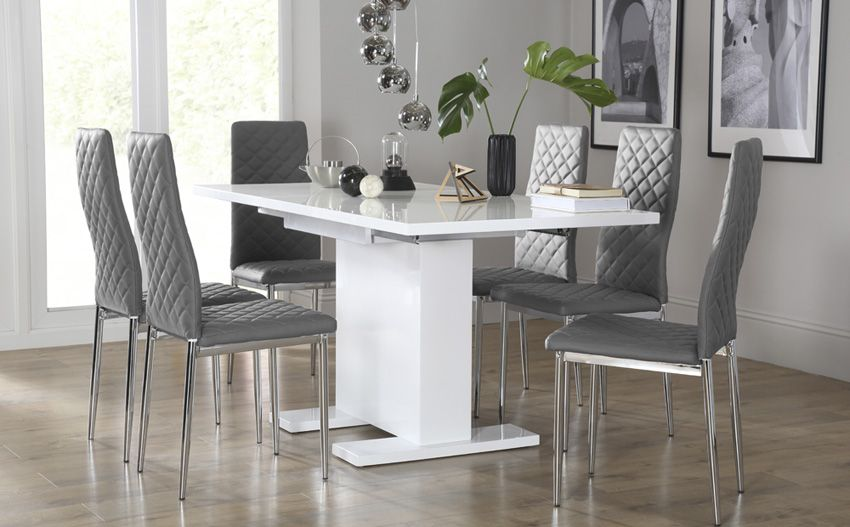 Osaka White High Gloss Extending Dining Table - with 6 Renzo Grey .