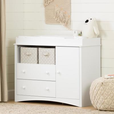 South Shore Peek-A-Boo 2-Drawer Pure White Changing Table 2280331 .