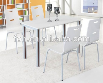 White Color Wood Folding Table And Chairs,4 Person Restaurant .