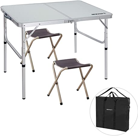Amazon.com: REDCAMP 3 Foot Aluminum Folding Table and Chairs Set .