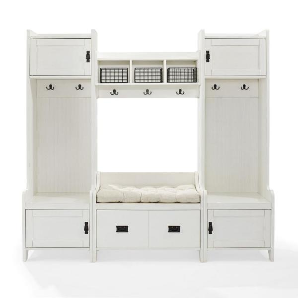 CROSLEY FURNITURE Fremont Distressed White Entryway Set (4-Piece .