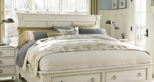 Country-Chic Wood King Size White Storage Bed | Zin Ho