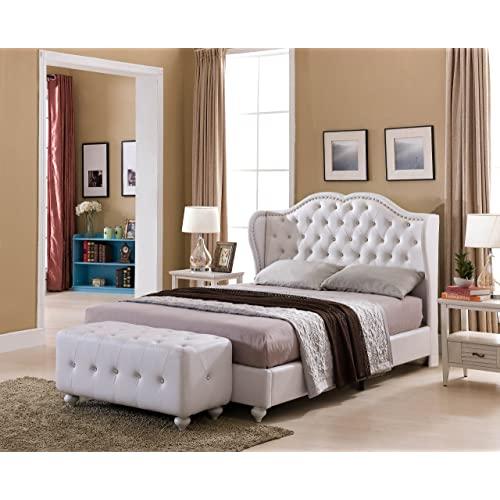 White King Size Bed Frame: Amazon.c