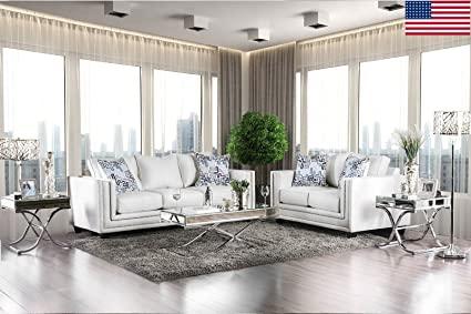 Amazon.com: Esofastore Sofa And Loveseat Off-White Color Living .