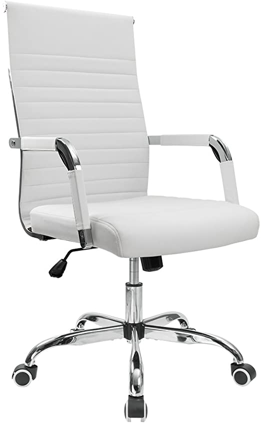 Amazon.com: Furmax Ribbed Office Desk Chair Mid-Back PU Leather .