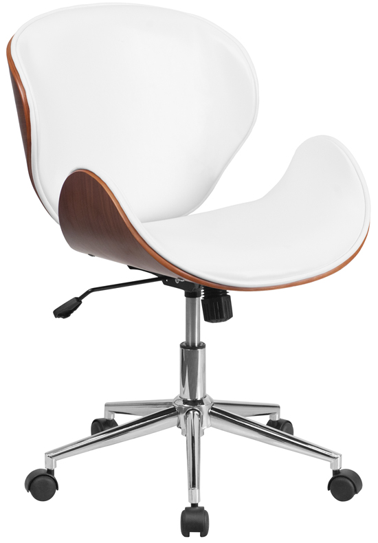 Mid back Walnut Wood Swivel Office Chair - White Leather .
