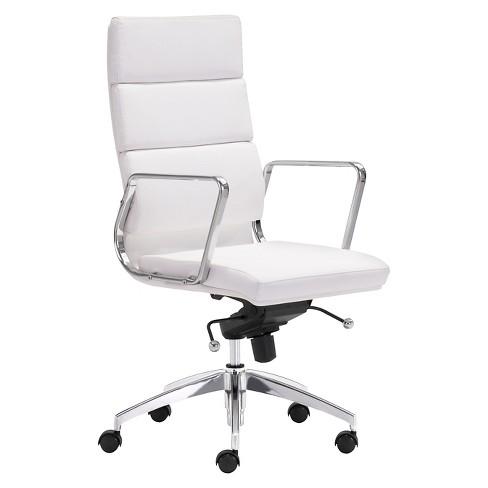 Modern Sleek Adjustable High Back Office Chair - White - ZM Home .