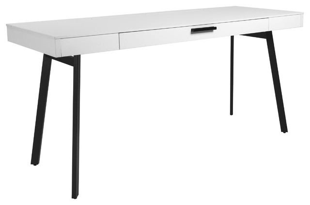 """63"""" Modern White Office Desk With Black Legs - Contemporary ."""