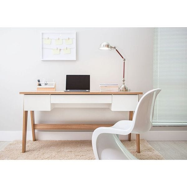 Shop Modern Office Desk with 3 Drawers - Hanover/Off White .