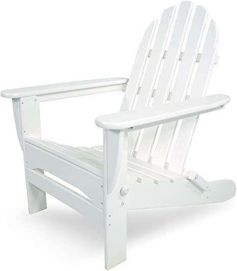 Amazon.com : POLYWOOD AD5030WH Classic Folding Adirondack Chair .