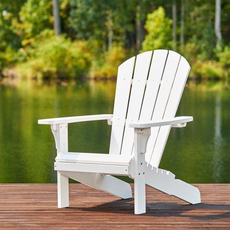 Shine Company Royal Palm Plastic Adirondack Chair - White .