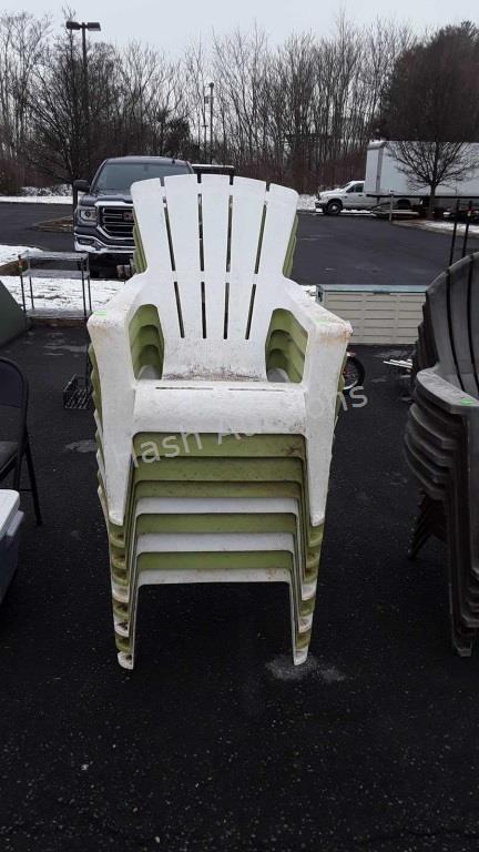 Nine green and white plastic Adirondack chairs | Hash Auctio