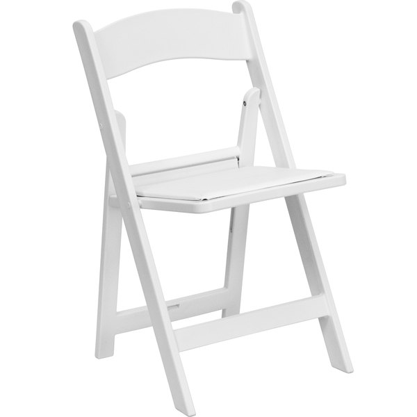 Flash Furniture LE-L-1-WHITE-GG White Plastic Folding Chair with .