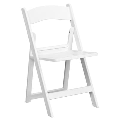 Flash Furniture Outdoor White Plastic Solid Standard Folding Chair .