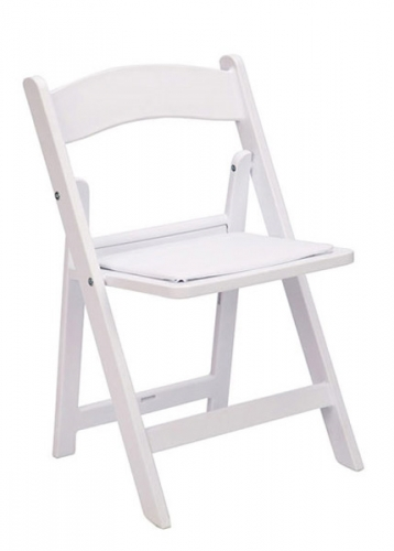 White Resin Folding Chair with cushi