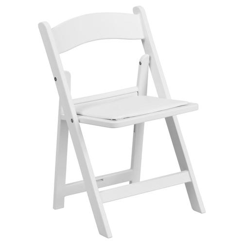 Flash Furniture Kids White Resin Folding Chair with White Vinyl .
