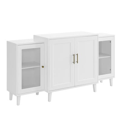 Modern Tiered 4-Door White Sideboard Buffet | Pier