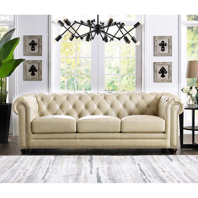 Allington Top Grain Leather Sofa - Eggshell Whi