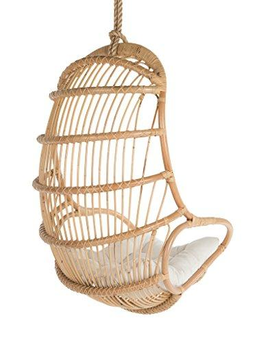 Kouboo Hanging Rattan Swing Chair with Seat Cushion, Natural Color .