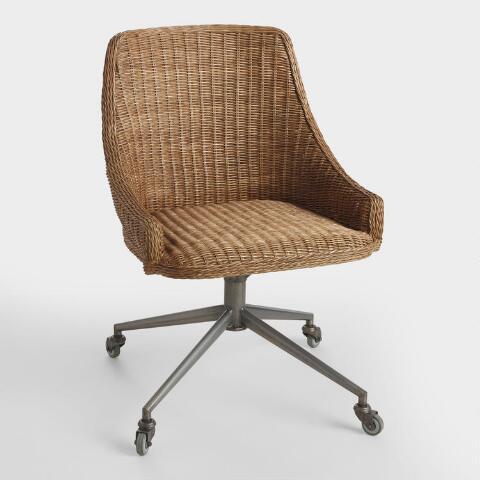 Honey Brown Wicker Tania Office Chair | World Mark