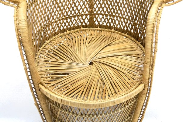 Large Peacock Wicker Chair, 1970s for sale at Pamo