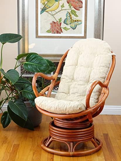 Amazon.com: Java Lounge Swivel Rocking Chair with Cream Cushion .