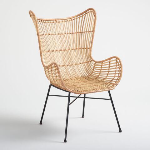Natural Rattan Willis Wingback Chair | World Mark