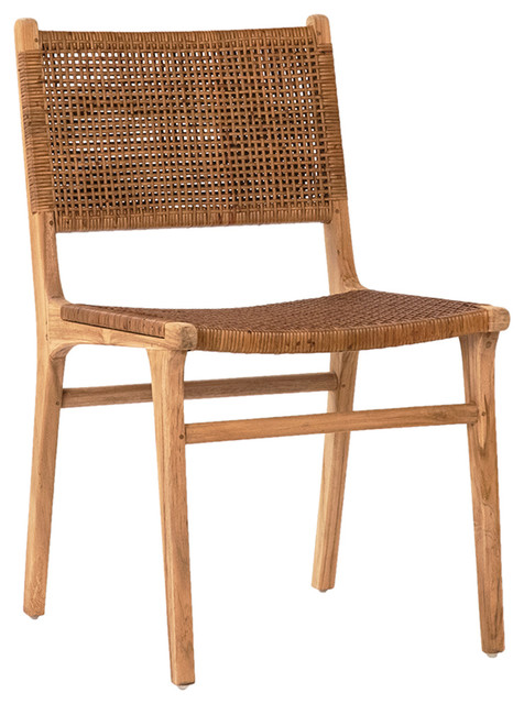 Modern Teak and Wicker Dining Chair - Tropical - Dining Chairs .