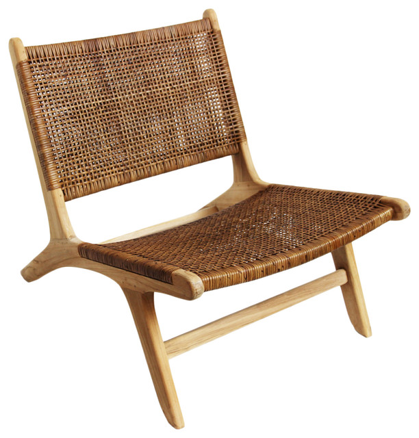 Modern Teak and Wicker Easy Chair - Midcentury - Armchairs And .